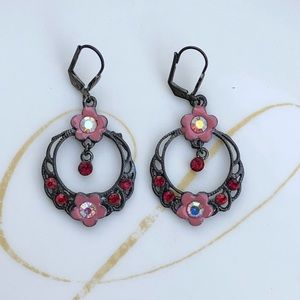 Dark Silver Tone Floral Earrings With Red Gems